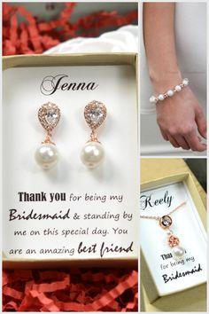 Rose gold Wedding Jewelry Bridesmaid Gift by thefabbridaljewelry