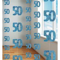 50th Birthday Blue Hanging string Decoration| www.slubnawzorcownia.blogspot.com