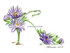 Shoe Print  September Birthday Flower Aster by brownleeartstudio, $10.00
