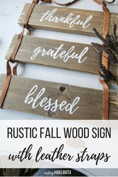 Fall decoration idea - I love the look of this rustic fall wood sign with leather straps. Great way to use pallet wood and recycled leather! Fits right in with my boho farmhouse decor and perfect to decorate home for Fall. Wood Projects For Beginners, Diy Wood Projects, Wood Crafts, Woodworking Projects, Woodworking Furniture, Pallet Furniture, Woodworking Plans, Fall Wood Signs, Wood Pallet Signs