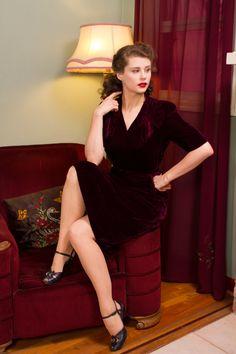 HOLIDAY SALE Vintage 1940s Dress Sweet Burgundy Silk by FabGabs