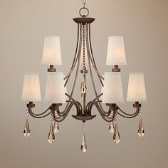"""Jayce 32"""" Wide Champagne Crystal Chandelier by Kathy Ireland"""