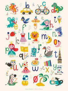 Mimi's ABC plakat By Helen Dardik x 70 cm) - Mimi´s Circus Alphabet Games, Alphabet For Kids, Alphabet Art, Alphabet Posters, Abc Poster, Toddler Fun, Toddler Preschool, Learning Letters, Kids Learning