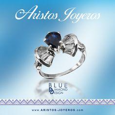 Anillo oro blanco una combinación magnifica entre azul y blanco El zafiro en un corte diferente de pera, y diamantes baguete en los laterales.