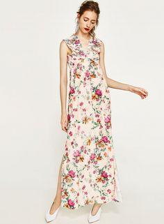 Sleeveless Backless Slit Floral Print Maxi Dress