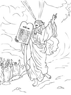 Moses Comes Down from Mount Sinai with Ten Commandments Coloring page