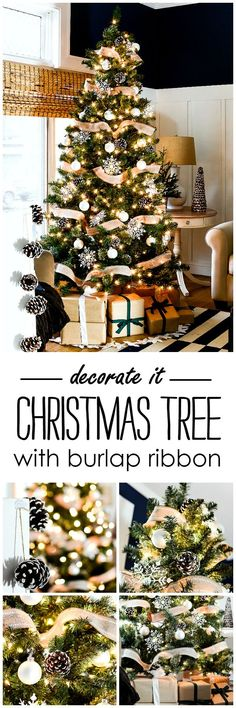 Christmas Tree with Burlap Ribbon & Pine Cones