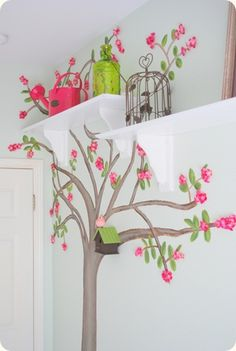 3D cherry tree painted on wall