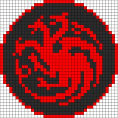 Game Of Thrones Targaryen Sigil Perler Bead Pattern | Bead Sprites | Misc Fuse Bead Patterns