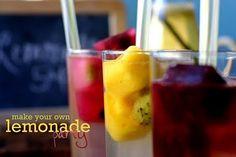 Lemons to Lemonade - bittersweet goodbye party. Lemonade, then add fruit ice cubes