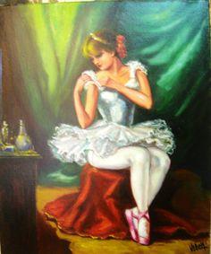 Bailarina, obra de Carmelo VARONA, óleo sobre lienzo de 55x46 cm., se vende