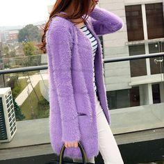 medium-long seahorse wool loose cardigan color block decoration mohair sweater outerwear female #Affiliate