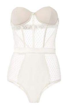 French net lace bodysuit by FLEUR DU MAL Preorder Now on Moda Operandi