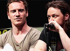 """buckybqrnes: """" Michael Fassbender and James McAvoy at the San Diego Comic-Con 2013 X-Men: Days of Future Past panel. Secret And Whisper, James Mcavoy Michael Fassbender, Le Talent, Charles Xavier, Cherik, Best Couple, X Men, Celebrity Crush, Marvel Dc"""