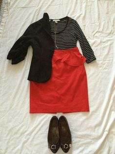 MAY 7: black blazer, black striped top, red skirt, coach flats, gold key necklace