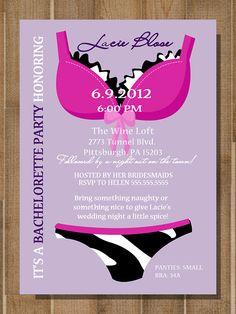****PRINTABLE Bridal Shower, Bachelorette Party LINGERIE Invitation -- CUSTOM, Zebra Print