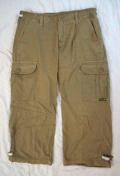 Lucky Brand Cargo Capri Khaki Womens Pants Size 2/26 (R5#292) #LuckyBrand #Cargo