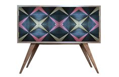 Diamond cabinet - Rosé in straw marquetry by Violeta Galan www.violetagalan.co.uk