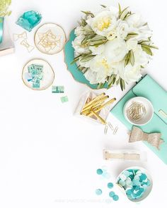 Shay Cochrane / In the shop: Mint Green, White, and Gold Styled Desk Stock Photo Pour Instagram, Fotografie Blogs, Flat Lay Photography, Product Photography, Flatlay Styling, Prop Styling, Gold Style, Cool Walls, Mint Green
