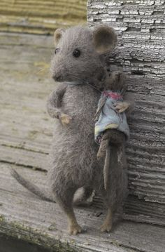 needle felted mouse with its own doll by Natasha Fadeeva