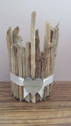 photophore bois flotté -ruban  - cœur bois