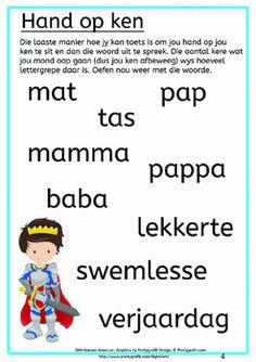 Klanke en Lettergrepe vir Seuns Afrikaans Language, Spelling, Classroom Ideas, Homeschool, Kids, Young Children, Boys, Afrikaans, Classroom Setup