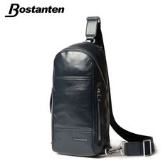Bostanten Tactical Bag Fashion Men Chest Bags Genuine Leather Diagonal Package Outdoor Cross Body Messenger Shoulder Back Pack