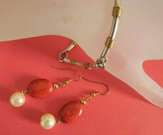 Vintage  925   gold  vermeil  bracelet and  jasper  pearl  earrings   BellaWorxJewelry - Jewelry on ArtFire