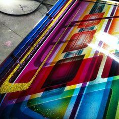 . Custom Paint Motorcycle, School Painting, Custom Paint Jobs, Airbrush Art, Pinstriping, Car Wrap, Painting Patterns, Rainbow Colors, Old School