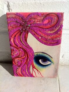 Mixed media painting on canvas with sequins by bricolageboutique, £10.00