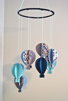 Blue 3D Paper Hot Air Balloon Mobile