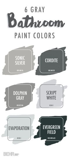 Looking for a modern paint color to use in your DIY bathroom makeover? Check out this collection of gray bathroom colors for a little design inspiration. Light gray shades like Sonic Silver and Evaporation look great when paired with bright white or blue accents.