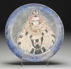 Beatrice Wood. Large Queen Elizabeth I plate (also Anno-1549). glazed ceramic circa 1965  signed BEATO with  BTWF #90