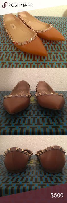 Valentino 'Rockstud' Ballerina Flat Valentino 'Rockstud' Ballerina Flat in Tan. Gently used. Size 39 European fits an 8.5. Includes original box, dustbag, and mini envelope. Purchased from Nordstrom. Valentino Shoes Flats & Loafers