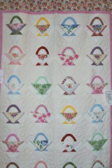 Gramma Linderoth's Hankies Basket quilt made with handerchiefs