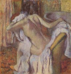Edgar Germain Hilaire Degas.  Nach dem Bade sich abtrocknende Frau. Um 1896-1898, Papier, 103 × 99 cm. London, National Gallery. Frankreich. Impressionismus  KO 01305