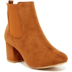 Top Guy Selena Bootie (€26) ❤ liked on Polyvore featuring shoes, boots, ankle booties, dark tan, side zip ankle boots, round toe ankle boots, short boots, round cap and side zipper boots