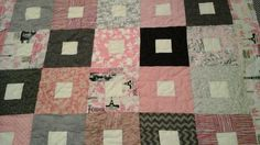 Pink grey black and cream queen size quilt by 4quiltsandmore