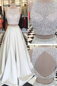 Beading prom dresses,two pieces prom dress,champagne prom dress,modern prom dress,fashion prom - Thumbnail 5 Prom Dresses Two Piece, Prom Dresses For Teens, Prom Dresses 2018, A Line Prom Dresses, Cheap Prom Dresses, Formal Dresses, Dress Long, Dress Prom, Mothers Dresses