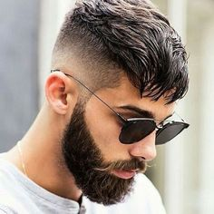 High Taper Fade with textured Crop and Beard