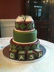 Baby shower Cake lime green and navy