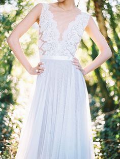 Wedding dress: Love Marley by Watters/ Bridal Store: Lovely Bride - Organic Greenhouse Wedding Inspiration by Amanda Gray of Ashley Baber Weddings (Event Design and Styling) + Adam Barnes (Photography) - via ruffled