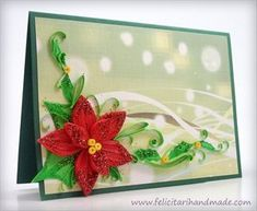 Poinsettia Quilling Card for Christmas Quilling Christmas, Christmas Cards, Poinsettia, Little Things, Origami, Frame, Card Designs, Ideas, Paper Crafts