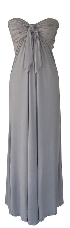Gray Strapless Maxi Dress. My colors are grey and white. Or silver like a really dark silver not metallic at all. This would work