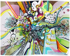 Tubes of Wonder - Abstract Watercolor + Pen Illustration by jeffjag