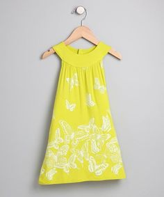 Look at this Lime Butterfly Yoke Dress - Toddler on #zulily today!
