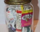 Vintage Jar of Sewing Stuff  Looks like my grandmas!