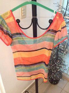 13) Blusa naranja con líneas manga corta  $80  *pocas puestas **Vendida