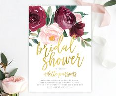 The Odette Bridal Shower invitation featuring gorgeous fall florals with a burgundy and blush pink rose and greenery arrangement and gold brush calligraphy lettering.