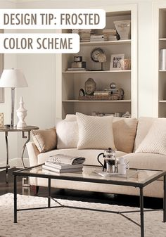 Try a frosted color scheme for your living room by incorporating shades of gray into the decor. By finishing the space with textured accessories and unique collectibles, bringing your own personal style to the space is easier than ever.   Featured BEHR paint: Cotton Knit.